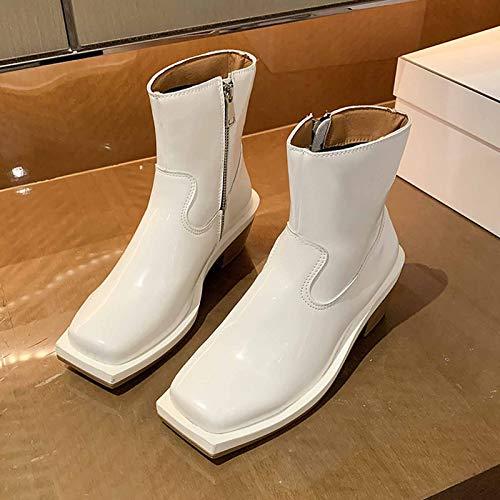 MIAO Botas Tácticas Militares Botas Jungle Combat, Zapatos De Trabajo Y Seguridad Zip Zapatillas De Deporte,Blanco,38