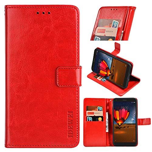 BellaHülle Oppo A15 Handyhülle Hülle Leder Flip Hülle [Kartenfach] [Standfunktion] [Magnetschnalle] Wallet Cover für Oppo A15 Smartphone(Rot)