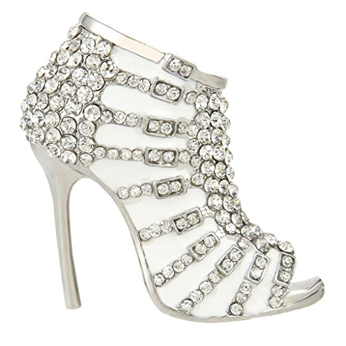 EVER FAITH High-Heel White Enamel Brooch with Clear Austrian Crystal