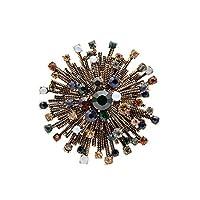 ラインストーンヴィンテージフラワーブローチ女性のためのコートエレガントなブローチ高品質ジュエリー秋ピン、グリーン