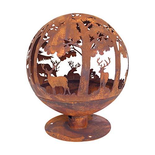 Unbekannt Esschert Rost-Optik Feuerball Elch 58x58x66cm braun Metall Lagerfeuer Feuerschale Tiermotiv