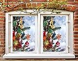 AJ WALLPAPER 3D Árbol de Navidad y bola roja 383 Lámina de Navidad para ventana de Navidad, adhesivo adhesivo de Navidad para Navidad (vinilo (sin pegamento ni extraíble), 100 x 100 cm