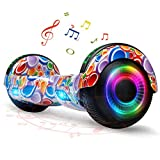 FLYING-ANT Hoverboard for Kids, 6.5 Inch Two Wheels Self Blancing Hoverboard with Bluetooth Speaker and LED Lights-Bubbles