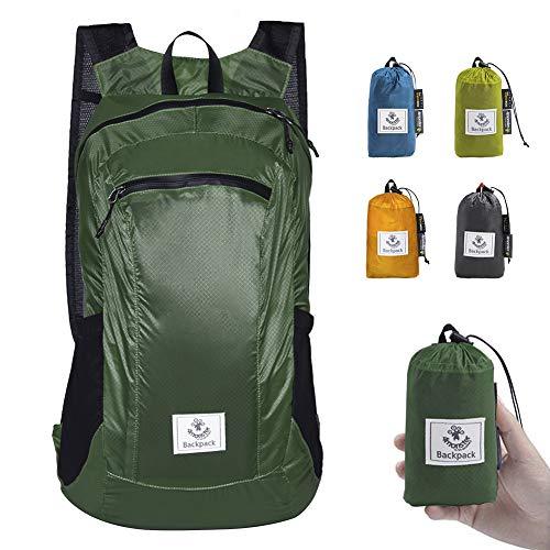 4Monster Faltbarer Rucksack Ultra Leicht, Unisex Tagesrucksack Outdoor, Wasserdichter Wanderrucksack für Camping Wandern Reisen Sport Klettern Radfahren (Armeegrün, 24L)