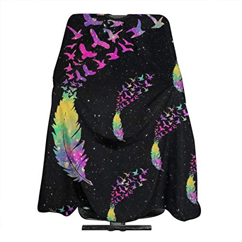 TYHG Haarschürze mit buntem Vogel und Federn in Galaxie, Unisex, für gefärbtes Haar geeignet, antistatisches Umhang, 139,7 x 167,6 cm
