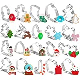 20 Pieces Christmas Cookie Cutters for Xmas/Holiday/Wonderland Party Supplies/Favors - Including Glove, Gingerbread, Angel, Candy Cane, etc