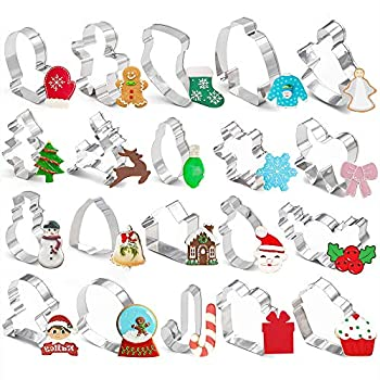20 Pieces Christmas Cookie Cutters for Xmas/Holiday/Wonderland Party Supplies/Favors - Including Glove Gingerbread Angel Candy Cane etc