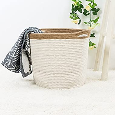 Goodpick 15  x 12.6  x 11.8  Large Cotton Rope Basket - Woven Storage Basket - Baby Bins for Diapers, Laundry Organization, Toys, Towels, Blankets, Nursery - Decor Cotton Storage Container