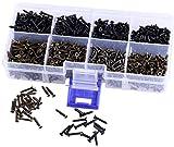Mini Skater M2 Cross Flat Head Tapping Micro-Screws Black Oxide Tiny Wood Screws Kit and Assortment (1600Pcs,Black Bronze)