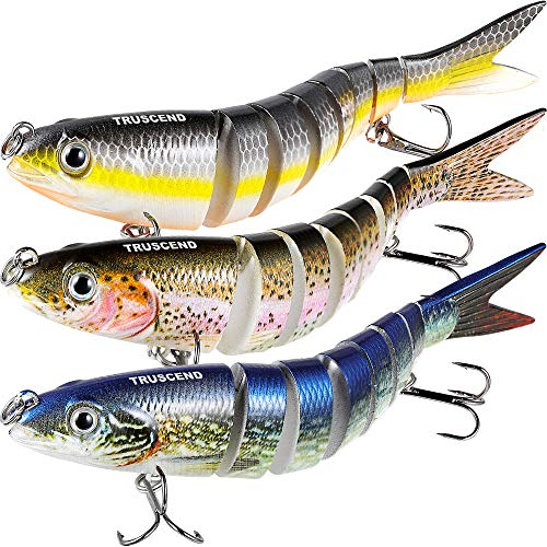 TRUSCEND Fishing Lures for Bass 4.9' Multi Jointed Swimbaits Slow Sinking Hard Lure Fishing Tackle Kits Lifelike (S-8-Combo-S)