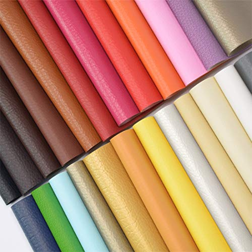 ZIIYAN 24 Pieces 8'x13.4'(20x34cm) Colored Faux PU Leather Sheets Upholstery Crafts Fabric for Bag Making, Hat Making, Hair Crafts Making, DIY Jewelry Making, Sewing, Shoe Making
