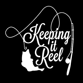 ND019W Keeping It Reel Fishing Decal Sticker | 5.5-Inches By 5.4-Inches | Premium Quality White Vinyl