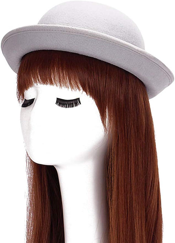 ChenXi Store Lady Hat Floppy Hat Bowler Hat Wool Wide Brim Hat Vintage for Women