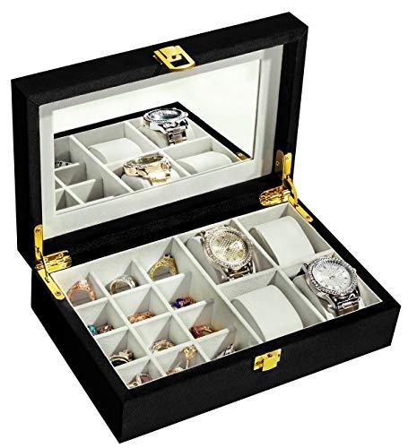 YOUDENOVA Schmuckkästchen Velvet Samt Damen Schmucklade Ohrringe Uhren Schmuckschatulle Aufbewahrungsbox für Ringe, Ketten, Armbänder mit Spiegel