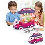 Toy Food Truck for Toddler Pretend Toy Bus Set Ice Cream Truck Cart with Light and Sound-Pink Purple