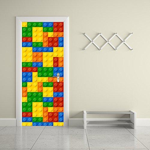 decalmile Building Blocks Porte Adesivi 3D Adesivi Murali Porte Decorazione Bambino Camera dei Bambini Asilo Nido Stanza dei Giochi Sticker Decorazione Murale