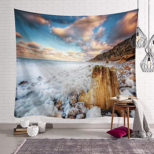 BOYOUTH Tapiz para colgar en la pared, con impresión digital de la costa lavada por el mar, para sala de estar, dormitorio, decoración de dormitorio, 150 cm de ancho por 130 cm de alto