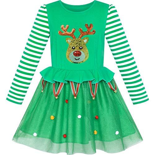Sunny Fashion Vestido para niña Navidad Reno Cascabel Fiesta Fiesta 4 años