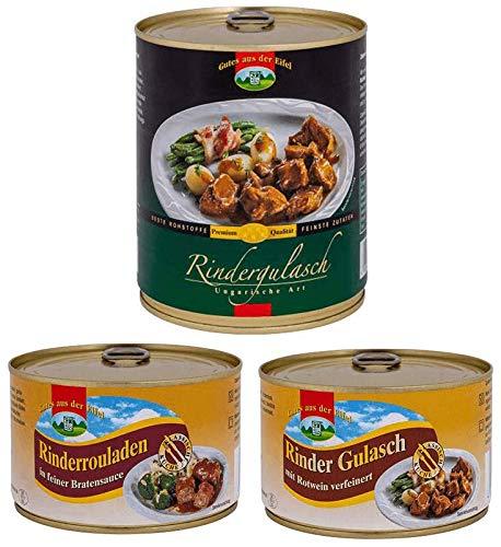 3-er Set Rindfleisch Paket 1,6 kg, 3 Dosen, 3 Rindfleischzubereitungen
