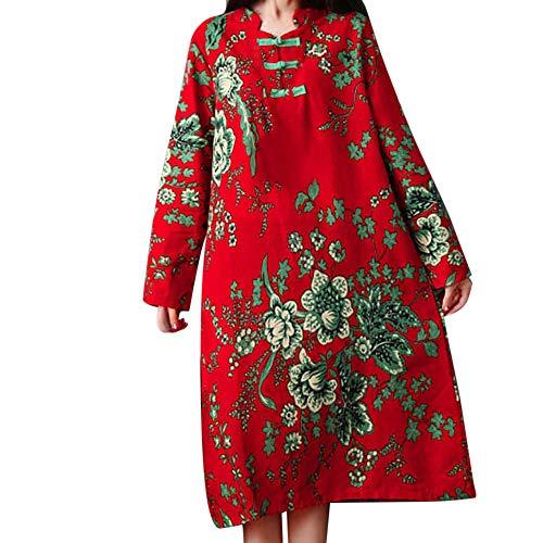 Damen Langarm Druck Kleid Übergroßes Kleid für Frauen Langes Maxikleid
