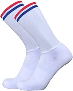 WZDSNDQDY Calcetines de Tubo para Hombre Calcetines Blancos de Baloncesto Calcetines para Montar al Aire Libre patrón de Rayas Rojas y Azules Material de Nylon Ropa Transpirable