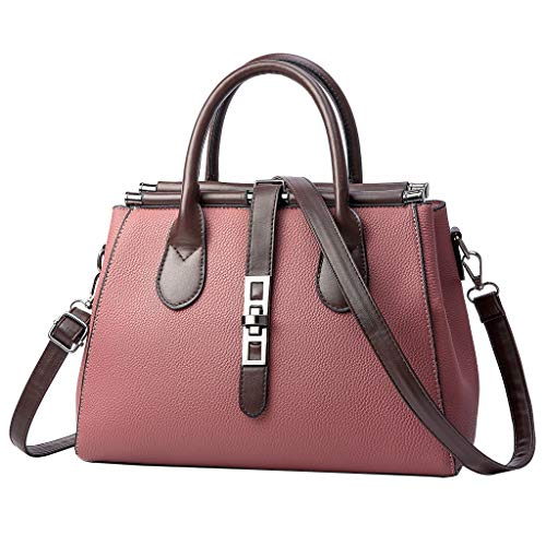 Best Price Women Leather Bag Top Handle Handbag Lichee Pattern Splicing Patchwork Strip Detachable S...
