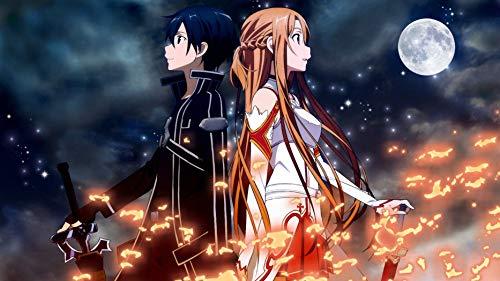 Sword Art Online Sao Kirito Asuna Anime Poster Wall Art Print Artwork Painting for Home Decor 12' x 18' Poster