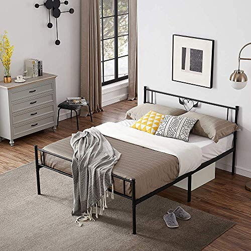 Twin Bed with Solid Metal Frame Supporting Metal Laths 90 x 190 cm,Black-140 x 190 cm