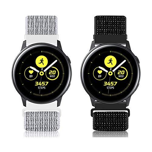 22mm Liberación Rápida Nylon Deporte Bandas Reemplazo Correa Reloj para Galaxy 46mm, Gear S3 Frontier/Classic, Fossil Gen 5/Herren Damen Gen 4, Huawei GT 2 46mm(Negro Reflectante+Blanco Reflectante)