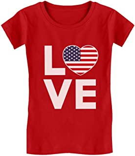 4th of July Top Love USA Heart Flag Patriotic Toddler Kids Girls' Fitted T-Shirt