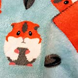 Stoff Meterware Wellness Hamster hellblau orange Fleece