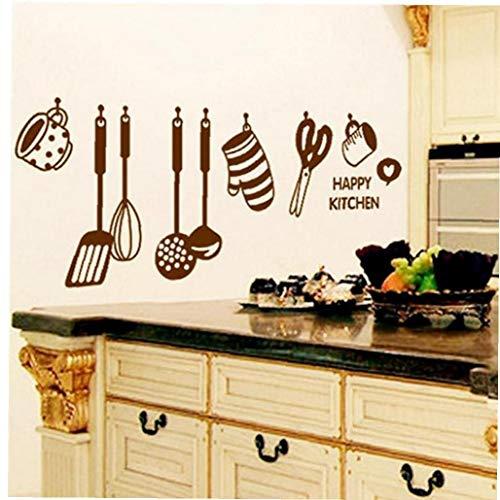 Lankater Wall Sticker per Wall Stickers Casa Decorazione Armadio Cucina Economica Cucina DIY Rimovibile Happy Kitchen Sticker Murale in Vinile Home Decor