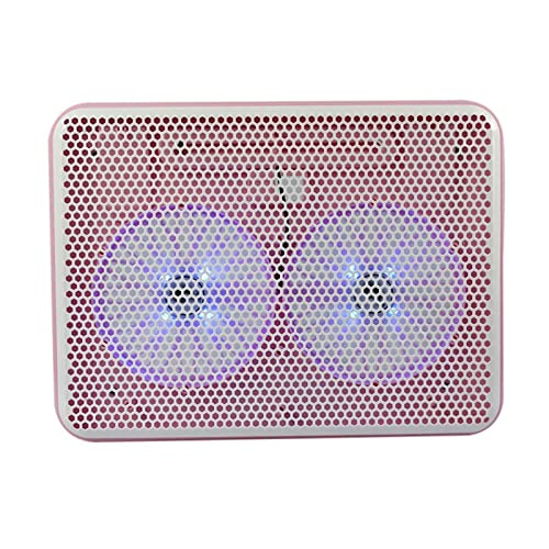 Computadora portátil Azul LED Dual Fan Dual Puerto USB Soporte de enfriamiento en los fanáticos del Cuaderno del Ordenador portátil MUZILIZIYU (Color : Pink)