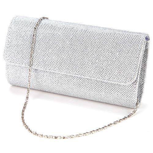 Anladia Elegant Damentasche Clutch Party Handtasche Abendtasche Brauttasche silber