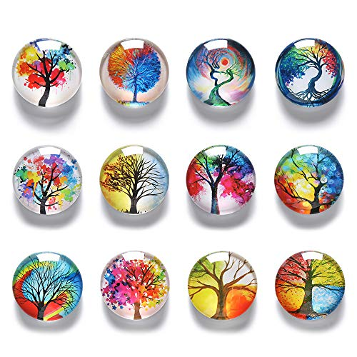 COSOW 12Pcs Glass Strong Magnetic Refrigerator Magnet Fridge Sticker - Round Life Tree Glass Fridge Decoration, Office Whiteboard Magnet, Cabinet Magnet, Dishwasher Magnet, Cabinet Cute Locker Magnet
