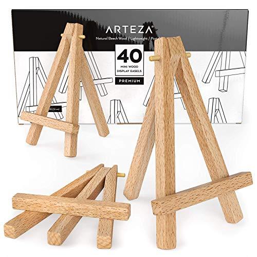 Arteza Mini caballete expositor de madera | 12,7 cm | Pack de 40 atriles miniatura | para exponer lienzos pequeños, tarjetas de visita y fotos