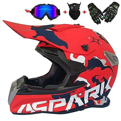 DDH Enviar 3 unids como Regalo (por Ejemplo, Gafas, Guantes, máscara) Hombres Mujeres Motocross Casco Fuera de Carretera Casco de Bicicleta Casco Casco Completo Motorbike-Red 2  XL