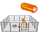 TOOCA Dog Pen 16 Panels 32' Height RV Dog Fence Playpens Exercise Pen for Dogs, Metal, Outdoor, Protect Design Poles, Foldable Barrier with Door, Black