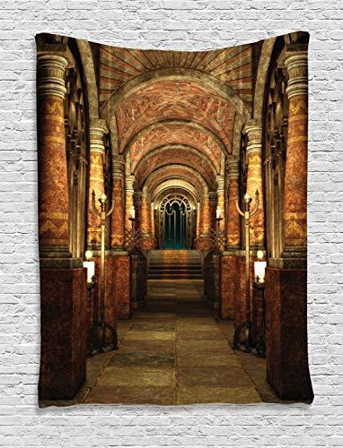 ABAKUHAUS Gótico Tapiz de Pared, Pasaje Secreto Medieval, para el Dormitorio Apto Lavadora y Secadora Estampado Digital, 150 x 200 cm, Marrón Y Rojo