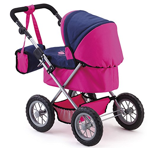 Bayer Design 13013AA Doll Pram Trendy Height-Adjustable Handle, Foldable, Blue, Pink, Butterfly
