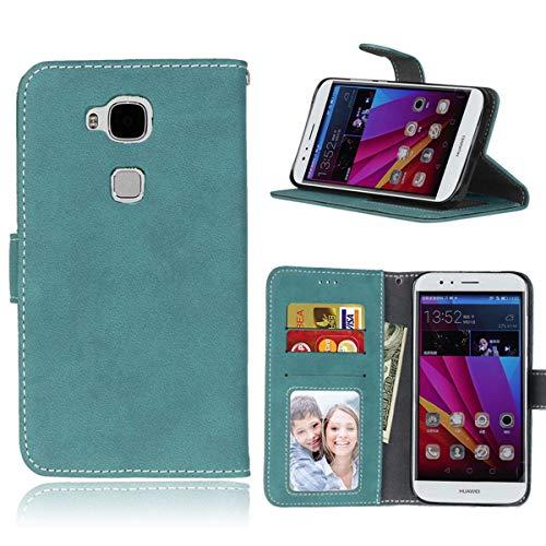 Sangrl Lederhülle Schutzhülle Für Huawei Ascend G8 / G7 Plus / GX8, PU-Leder Klassisches Design Wallet Handyhülle, Mit Halterungsfunktion Kartenfächer Flip Hülle Blau