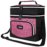 OPUX Insulated Dual Compartment Lunch Box for Women Girl   Leakproof Double Deck Lunch Bag Work Office School   Soft Cooler Tote Shoulder Strap Adult Kid   Reusable Thermal Lunch Pail Kit 12 Can, Pink