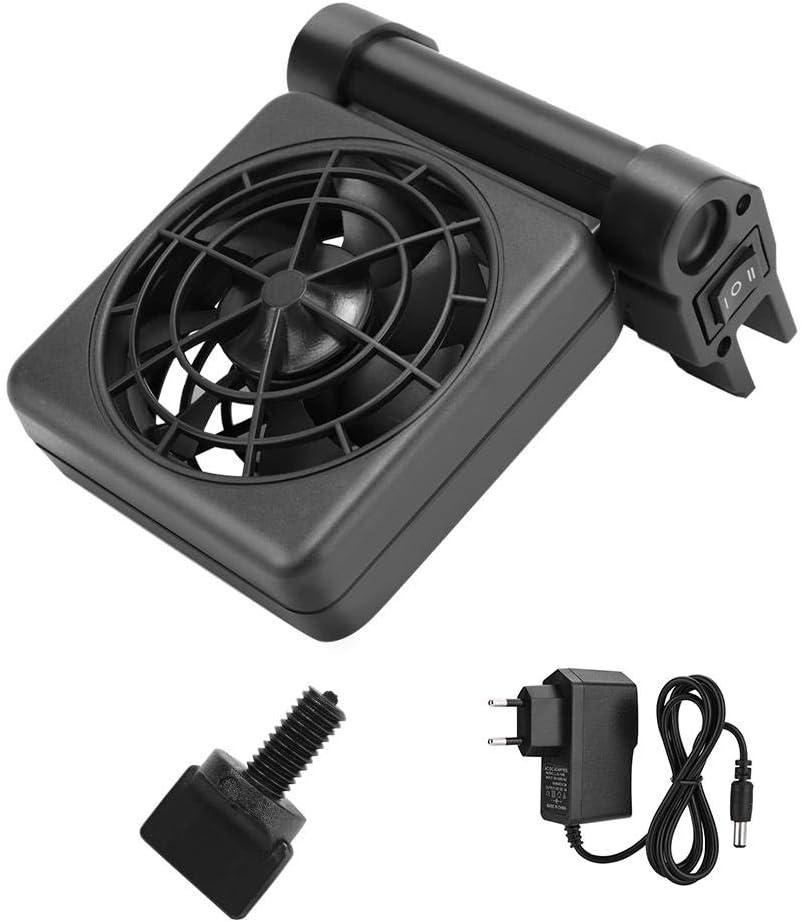 Longzhuo Ventilador de Tanque de Peces Mini de una Sola Cabeza Ventilador de enfriamiento de Acuario de Tanque de Peces Ajustable Colgar en Enfriador 100-240V(Normativas Europeas)