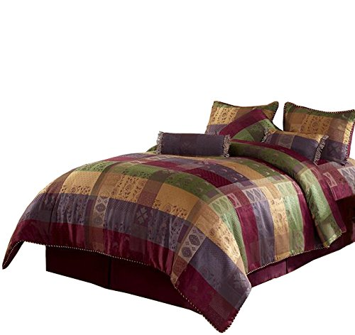 Chezmoi Collection 7 Pieces Multi Color Gitano Jacquard Patchwork Comforter Set Bed-in-a-Bag Queen Size