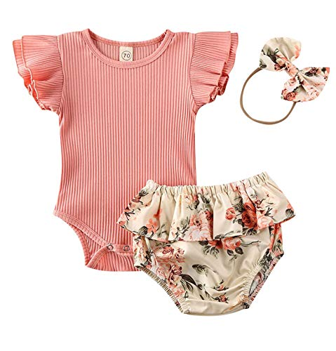 Infant Girl Sunflower Print Romper with Ruffle Pant Set Off Shoulder Bodysuit Pajamas Floral Bowknot Shorts Leggings and Hat (12-18M, M-Pink)