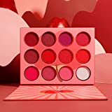 DE'LANCI Red Eyeshadow Palette,12 Color Matte Shimmer High Pigmented Mini Makeup Eyeshadow Pallet,Peach Coral Burgundy Rose Gold White Natural Blendable Long-Lasting Waterproof Small Pallets Eyeshadow