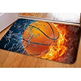 Youngerbaby Basketball Printed Inside Doormat for Entrance Way, 23x16 INCH Non Slip Soft Bath Rug for Indoor Bathroom Bedroom Floor, Washable, Rubber Back,Absorbent Welcome Door Mat Home Decor