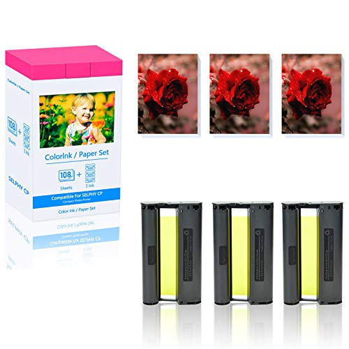 GREENCYCLE 1 Set Compatible for Canon KP-108IN Ink/Paper use in SELPHY CP1300 CP1200 CP910 Wireless Compact Photo Printer 108 Sheets 4 x 6 Paper Glossy 3 Color Ink Cassette (Produces up to 108 Sheets)