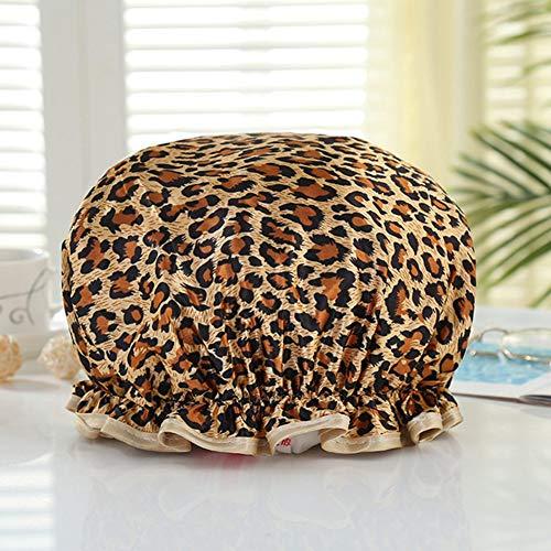 sisn Duschhaube, doppelschichtig, wasserdicht, elastisch, Badekappe für Damen, Dusche, Spa Salon (Leoparden-Druck)