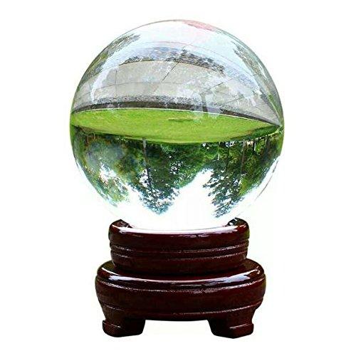 Boule Cristal Claire pour Photographie, Sphère de Cristal Transparente avec Support en Bois pour Décoration de la Maison (50mm)